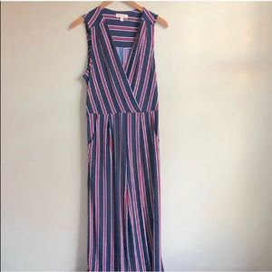 Monteau Navy & Red Striped Jumpsuit